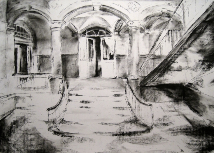 An atmospheric black and white charcoal drawing of a run down but architecturally interesting room. Most of the space is lost in shadows but a beam of light falls around the centre, illuminating a staircase and a mysterious half-open door.