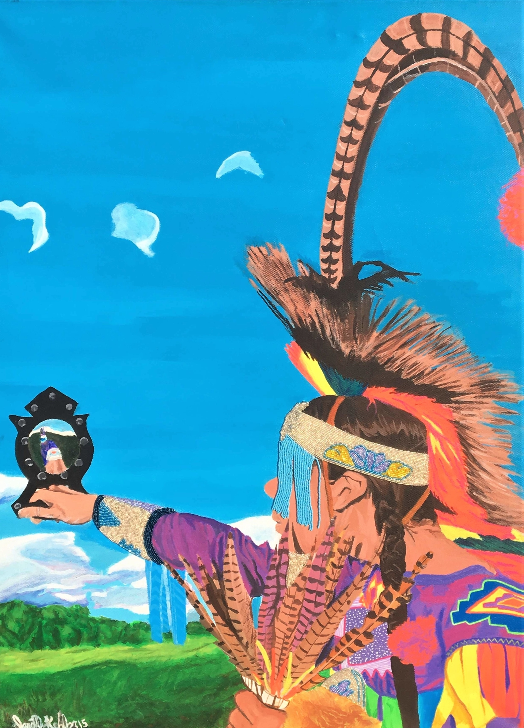 A crisp, colourful, high-intensity painting of a man in traditional regalia, standing under the expansive, strong light blue sky — a few white birds flying overhead. The medium is acrylic paint with sparkling beaded details.