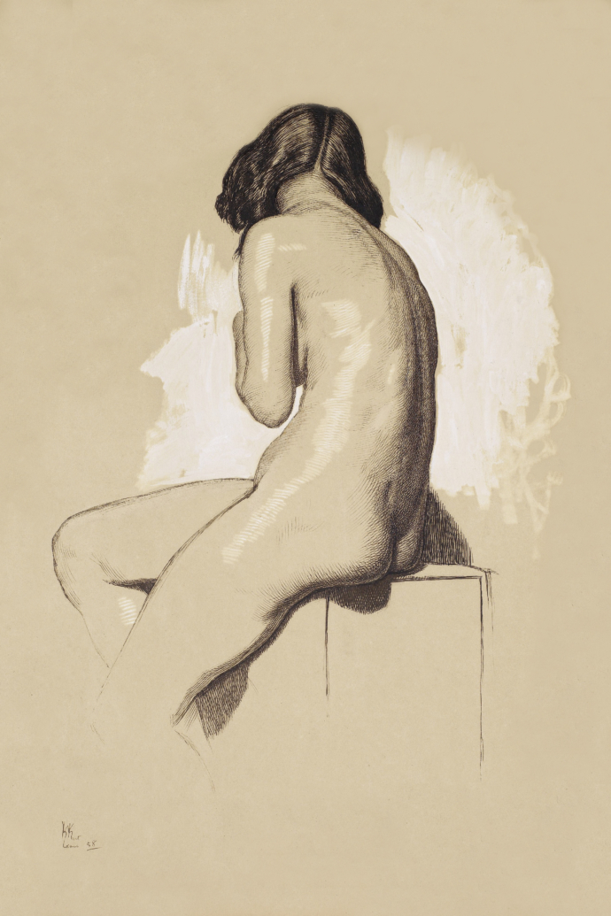 Vintage, detailed but minimalist drawing of a naked woman posing seated on a stand and facing away from the viewer, showing her bum. Original from Birmingham Museums.