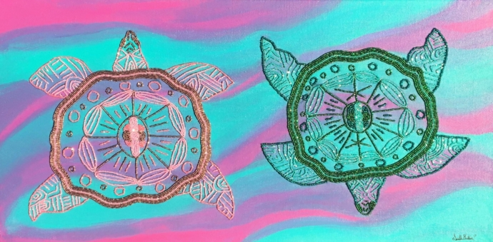 A painting full of turquoise and pink tones in wave-like broad strokes. On top of this acrylic-painted background, there are two turtles of the same size, one in pink and one in green, facing up and down respectively. The turtles are made up of mesmerizing, sparkling beaded patterns.